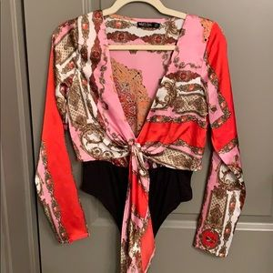 Paisley silk print long sleeve bodysuit